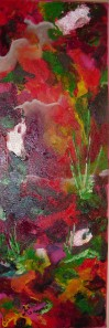 D Brume Magenta, 8x12po, acrylique, limite figurative.