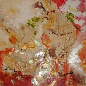 Joie, 10x10 po. Paysage abstrait, techniques mixtes