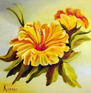 """Fleur d'hybiscus  10""""x10"""""""
