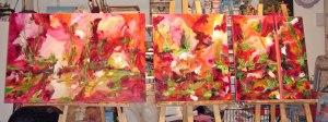 Paysage abstrait, quatuor acrylique