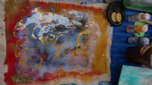 Transfert et  travail au Clear Tar Gel et peinture iridescente Gold